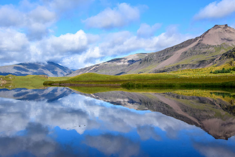 Reflection in Iceland Beauty In Nature Cloud - Sky Cultures Day Iceland Lake Landscape Moor  Mountain Mountain Range Nature No People Outdoors Reflection Reflection Scenics Sky