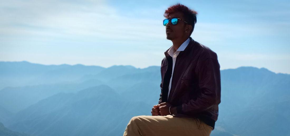 Mountain Men Businessman Business Mid Adult Portrait Sky Mountain Range Landscape