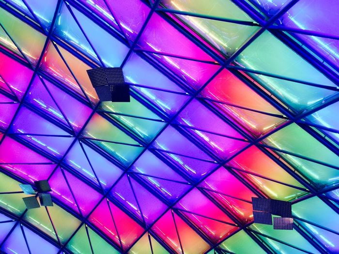 Multi Colored Ceiling Indoors  Low Angle View Pattern No People Umbrella Geometric Shape Architecture Ceiling