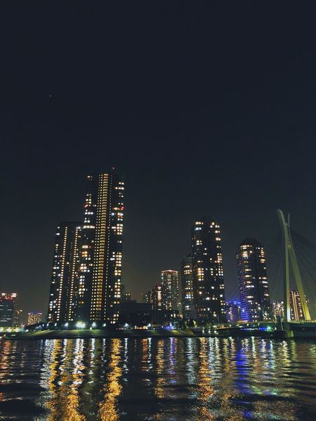 IPhoneX Japan Tokyo Sumidariver Night Illuminated Architecture Building Exterior Skyscraper Built Structure Waterfront