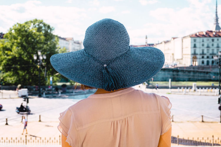 Rear view of woman in city