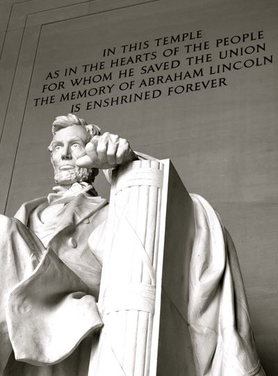Abraham Lincoln Memorial Abraham Lincoln Statue Marble Statue Travel Travel Photography USA Washington DC Washington, D. C. Abraham Lincoln Black And White Black And White Photography Close-up Marble No People Photographer Photography Statue Stone Statue Text Travel Destinations