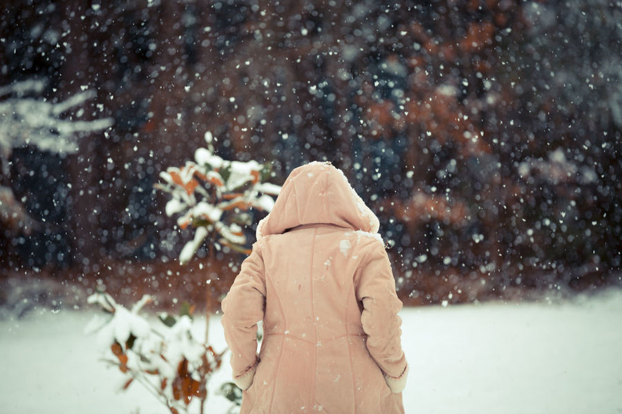 Shades Of Winter Beauty In Nature Close-up Cold Temperature Day Focus On Foreground Lifestyles Nature One Person Outdoors People Real People Snow Snowflake Snowing Warm Clothing Weather Winter