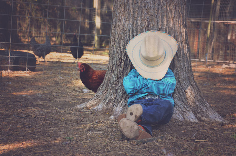 Cowboy Relaxing With Hat Over Face In Farm Against Tree Trunk