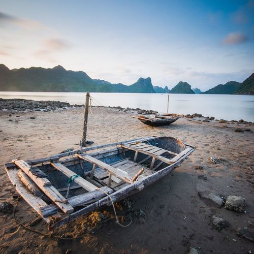 Fisher boats in Vietnam EyeEm Selects Water Sky Beach Sea Mountain Nautical Vessel Tranquility No People Cloud - Sky Abandoned Outdoors Nature Scenics - Nature