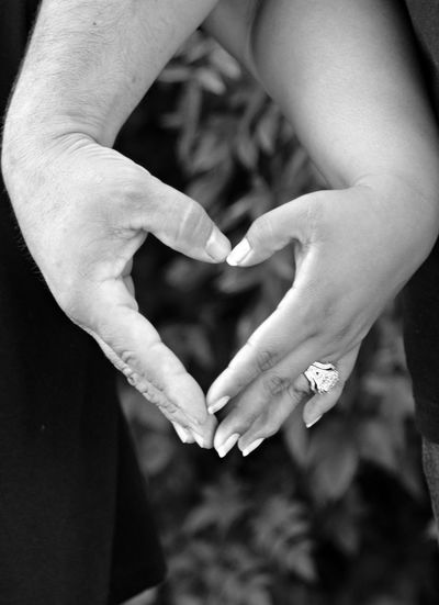 Cropped image of hands making heart shape