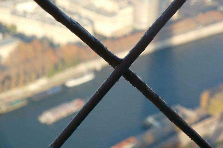 Fence Focus On Foreground Seine River Eiffel Tower View