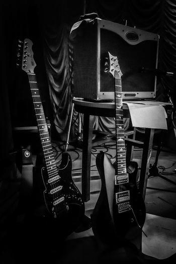 Electric guitar in recording studio