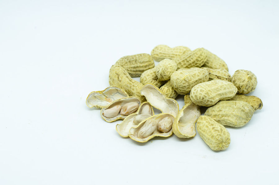 groundnut Arachis Hypogaea Isolated Peanuts Raw Close-up Food Groundnuts Organic Peeled Protein Shell Studio Shot White Background