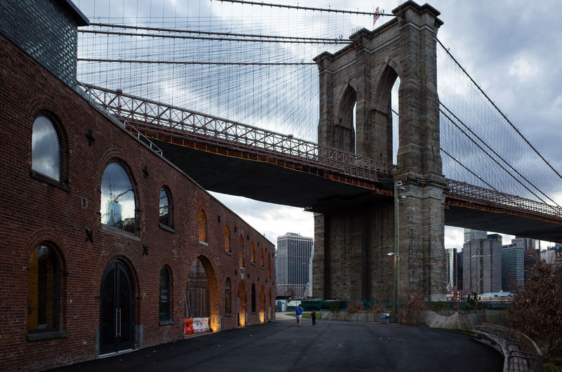 St Ann's Warehouse Theater, Brooklyn. March 2016 28mm Arch Architecture Brooklyn Brooklyn Bridge Park Brooklynbridge Cloud - Sky Diminishing Perspective DUMBO Reflection Ricoh Gr Travel Destinations Warehouse World Trade Center