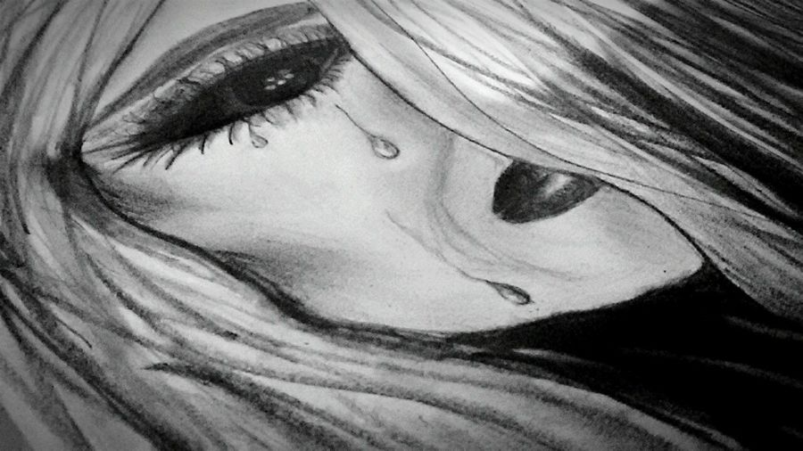 Midnight Sketching Sorrow Pain Fear Alone... Sad Dark
