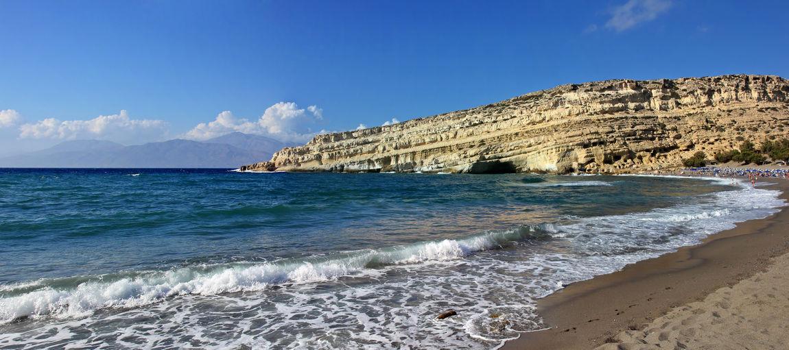 Matala, Kreta Holiday Kreta Travel Beach Beauty In Nature Blue Blue Sky Crete Day Horizon Over Water Matala Nature No People Ocean Outdoors Rock - Object Sand Scenics Sea Sky Summer Sunlight Tranquil Scene Water Wave