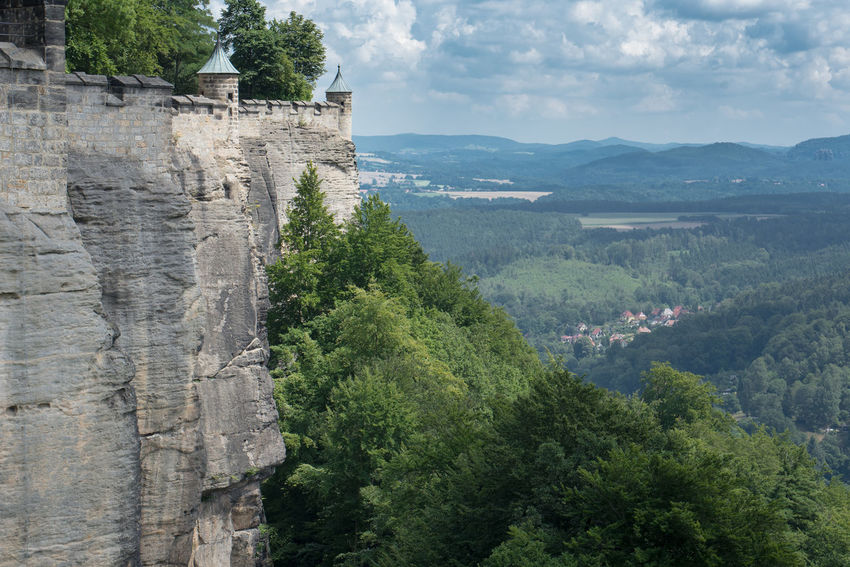 Another item on our holiday checklist ticked off - Königstein Stronghold, an impressive rock formation looking over the Elbe river Festung Königstein Postcard Rock Rock Wall Sky And Clouds Landscape Sandstone Scenics Stronghold