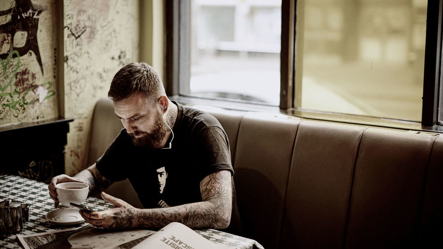 Adult Adults Only Beard Coffee - Drink Coffee Cup Day Indoors  One Man Only One Person People Real People Sitting Working Young Adult