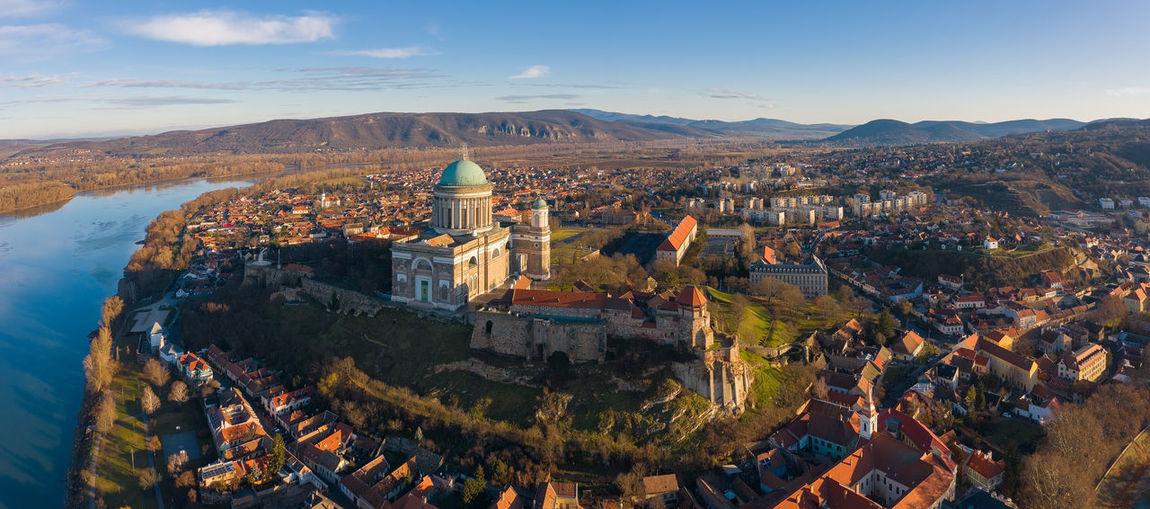 Esztergom, hungary - aerial view of the beautiful basilica of esztergom near river danube
