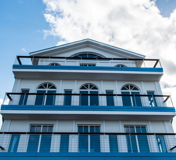 Architecture Blue Blue Balcony Blue Building Blue House Building Exterior Built Structure Classic Buildings Classic Style Cloud - Sky Day EyeEm Best Shots EyeEm Gallery EyeEmBestPics Holiday Low Angle View No People Outdoors Sky Window The Architect - 2017 EyeEm Awards
