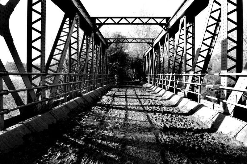 Blackandwhite Blackandwhite Photography Bridge Disusedrailways Railway Bridge Shadows & Lights Man Made Structure Abandoned Places Lonely Vanishing Point