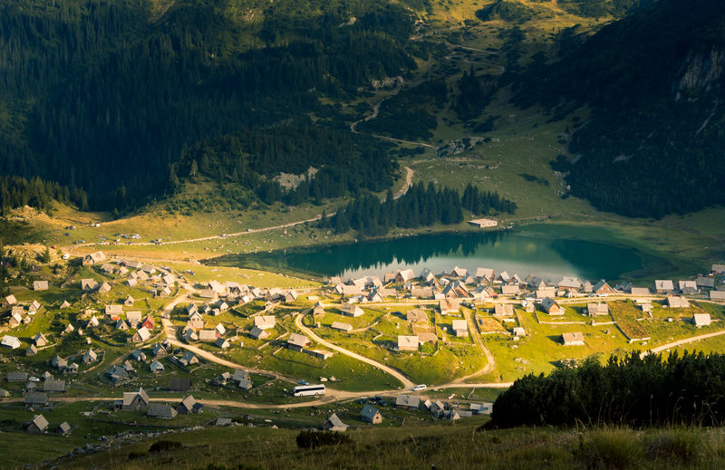 Aerial View High Angle View Illuminated No People Outdoors Architecture Lake Mountain Village Nomad Life Bosnia Tourism Nature Prokosko Lake Been There. Lost In The Landscape Perspectives On Nature