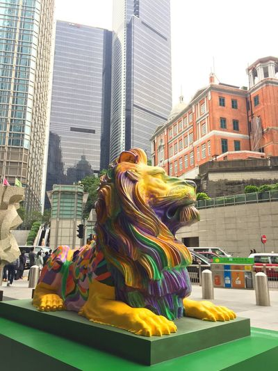 Paint The Town Yellow Lion Sculpture Art Public Art HongKong Colorful