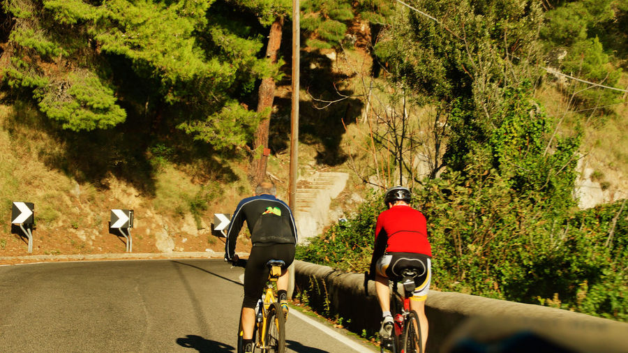 Rear View Of People Cycling On Mountain Road