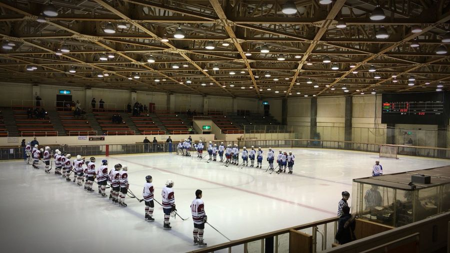 High Angle View Of Ice Hockey Players Standing In Rows