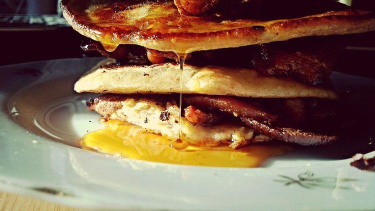 Banana Pancake Bacon & Carmel Syrup