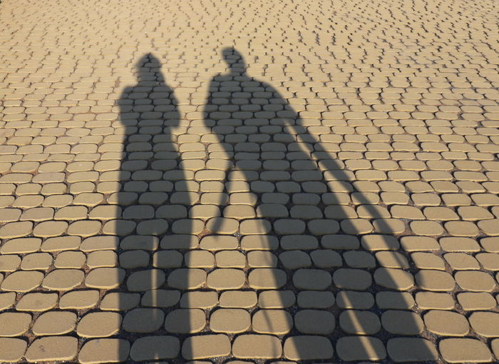 Shadow of man on cobblestone street