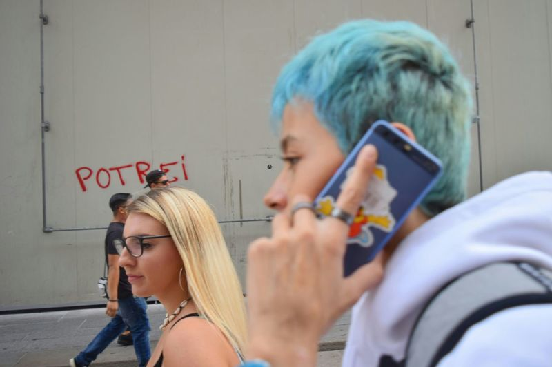 Blue Hair Young Women Headshot Working Women Occupation Business Finance And Industry Teamwork Friendship Close-up Streetwise Photography The Art Of Street Photography