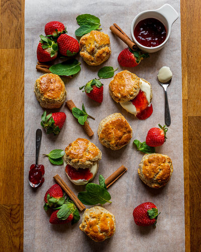 Wholemeal scones with cream and jam.