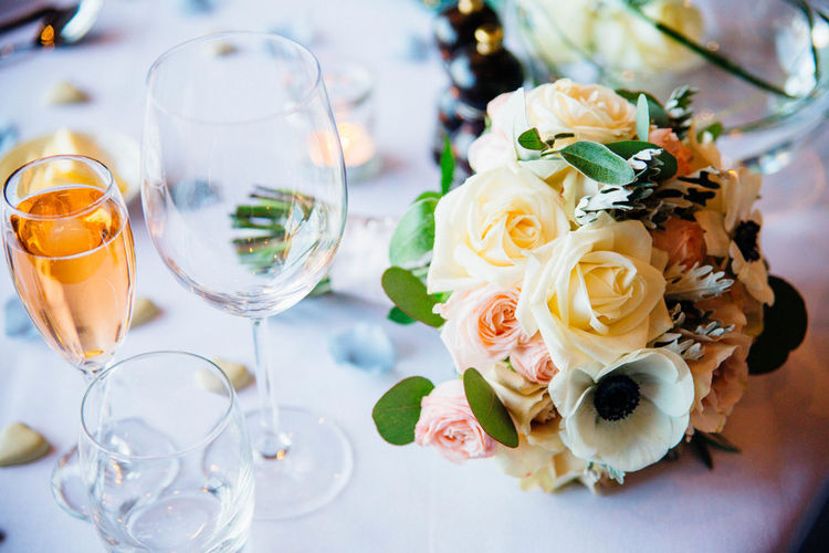 High Angle View Of Bouquet On Table
