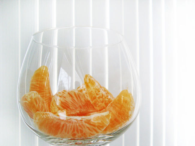 Bowl Breakfast Citrus Fruit Close-up Container Food Food And Drink Freshness Fruit Glass Glass - Material Healthy Eating Indoors  No People Orange Orange Color SLICE Snack Still Life Studio Shot Transparent Wellbeing White Background