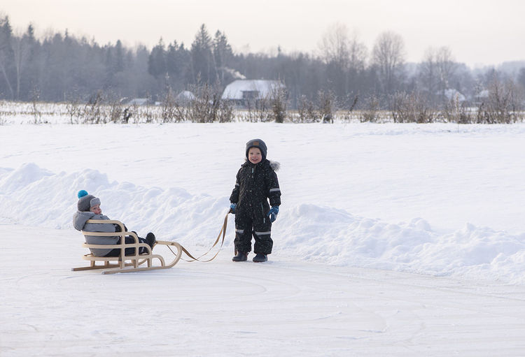 Little kids enjoy a sleigh ride. child sledding. family vacation on christmas eve outdoors