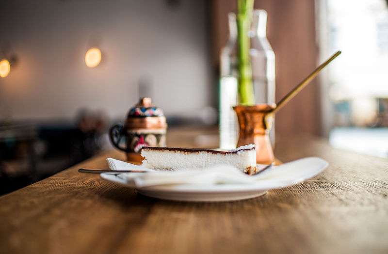 Close-up of tea cup on table in restaurant