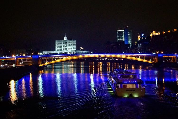 Night Illuminated Architecture Built Structure Building Exterior Bridge - Man Made Structure Travel Destinations Skyscraper City Cityscape Outdoors Urban Skyline River Downtown District Nightlife No People Modern Sky Water EyeEm Selects Moscow City Moscow Architecture Beauty City