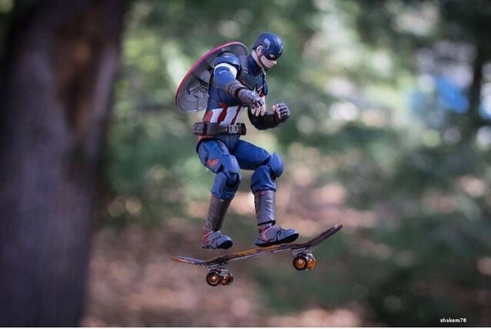 Toysoutdoors Toyaddict Toyphotography Toyphotographer Marvel Comics Civilwar Skateboarding Captainamerica Photography