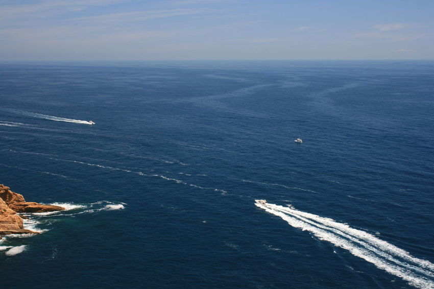 Speed motor boats in tranquil sea in a sunny day. Lifestyle Beauty In Nature Blue Horizon Horizon Over Water Mode Of Transportation Motion Motor Boats Nature Nautical Vessel Scenics Scenics - Nature Sea Sky Speed Boats Summer Adventures Tranquil Scene Tranquility Transportation Water Weekend Activities