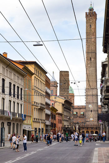 Bologna Bologna, Italy Italia Powerlines Two Towers Architecture City Large Group Of People Leaning Tower Outdoors Street Tower Towers