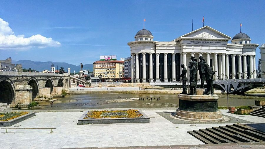 Skopje Macedonia Bridges City View  Bridge Skopje Centar Museum Of Archeology Monuments River Vardar River Outdoor Photography City Sky And Clouds Capitol City Republic Of Macedonia Architecture Outdoors Sky Day Built Structure Travel Destinations Building Exterior Sculpture Statue