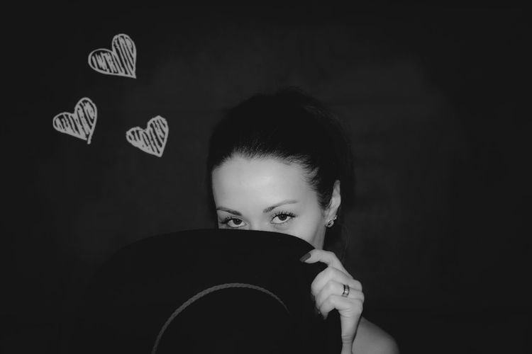 Black Background Close-up Eye Front View Headshot Heart Hearts♡hearts Holding Human Face Indoors  Lifestyles Looking At Camera Person Studio Shot Young Adult