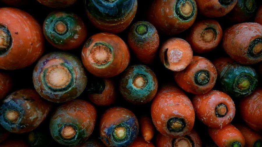 Heap of carrots at market