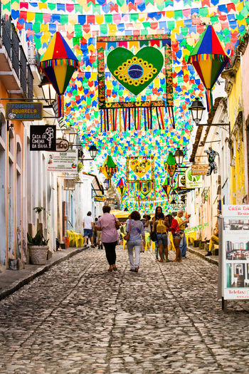 The inner cobbled streets of Salvador on the Bahia coast of Brasil decorated for the 'Festa de São João'. Brasil Buntings Cobbled Streets Cobblestone Colorful Cultures Decoration Festival Inner Street Lifestyles Salvador Salvador Bahia Street Photography Streetphotography The Street Photographer - 2016 EyeEm Awards