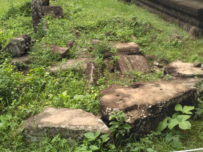 Ruins Abandoned Grown Over Rocks Destroyed Temple High Angle View Grass Green Color