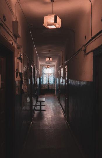 Empty corridor in building of village administration