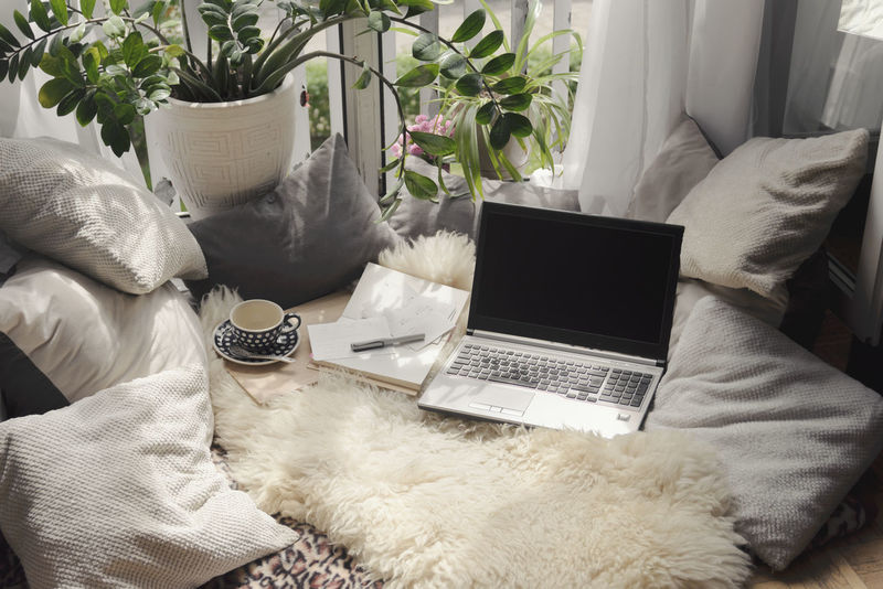 Blanket&Pillow Bed for working remotely City Coffee Freelance Life Home Office Nature Pillow Student Bay Window Bed Blanket Bed Concept Flat Fur Furniture Home Interior Home Work Indoors  Interior Laptop Notebook Remote Working Window