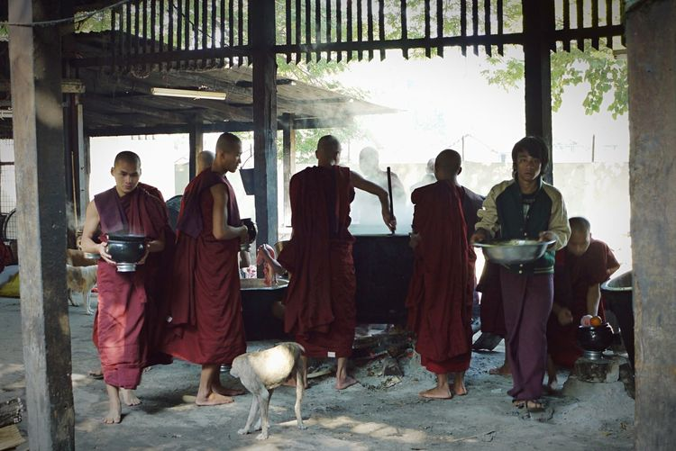 Collected Community Monks Cooking Meal Team Food Burma Myanmar