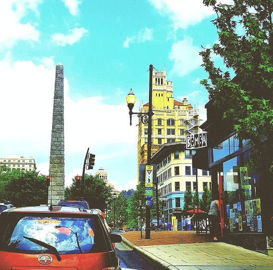 Connected By Travel Where Are We Now? Busy City Vivid Urban Life Energy In Motion Goodvibes Downtown Asheville, NC Anytown USA Sidewalk Photograhy You Are In That Red Car Colour Your Horizn