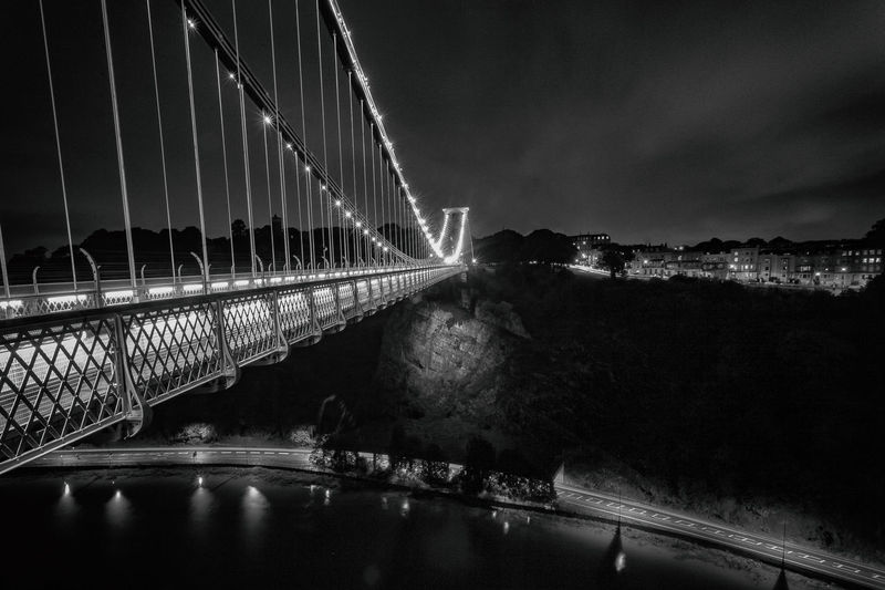 A view of the Clifton Suspension Bridge Bristol Clifton Clifton Suspension Bridge Sky And Clouds Architecture Bridge Bridge - Man Made Structure Built Structure Chain Bridge City Connection Illuminated Nature Night No People Outdoors Sky Suspension Bridge Transportation Water