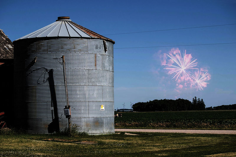 Architecture Built Structure Day Farm Fireworks Fourth Of July Independence Day Iowa Iowa Farms Night Nightphotography No People Outdoors Silo Sky