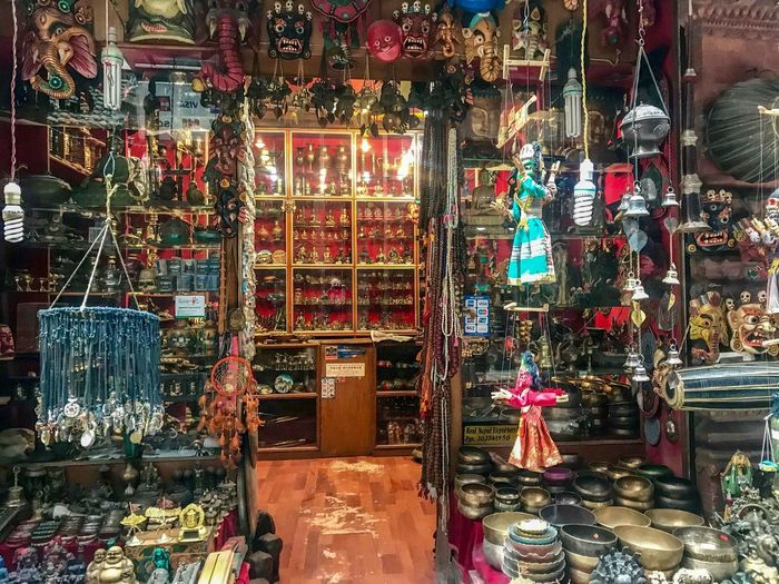 Shops in Thamel, Kathmandu Nepal Art And Craft For Sale Glass - Material Large Group Of Objects Market Multi Colored Retail Display Small Business