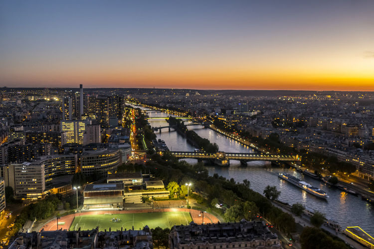 Aerial view of paris and the river seine  at sunset